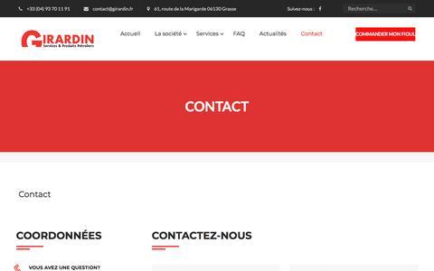 Screenshot of Contact Page girardin.fr - Contact Girardin Services et produits pétroliers, toutes les coordonnées - captured July 14, 2018