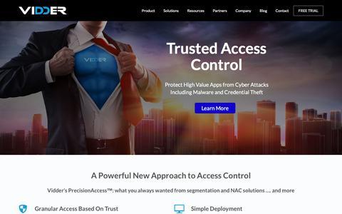 Screenshot of Home Page vidder.com - Zero Trust Cybersecurity   Vidder - captured Oct. 17, 2017