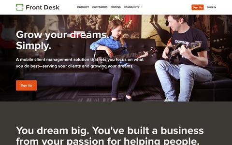 Screenshot of Home Page frontdeskhq.com - Mobile Business Management Software - Front Desk - captured Sept. 12, 2014