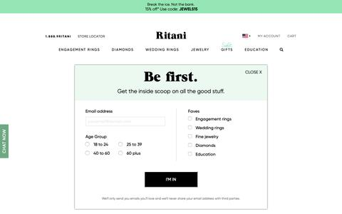 Screenshot of Home Page ritani.com - Ritani | Unique Engagement Rings, Diamonds & Fine Jewelry - captured May 18, 2019
