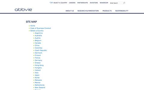 Screenshot of Site Map Page abbvie.com - Site Map - captured Sept. 24, 2014