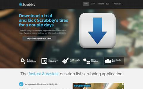 Screenshot of Home Page scrubbly.com - Scrubbly - The Fastest and Easiest Email List Scrubbing Application - captured Oct. 18, 2017