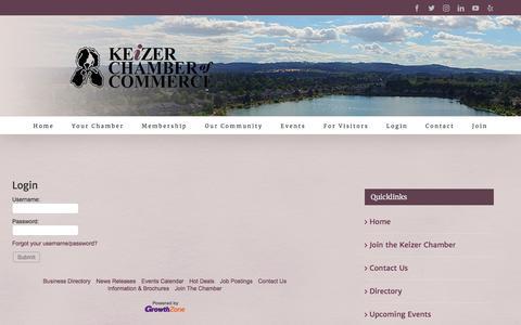 Screenshot of Login Page keizerchamber.com - Login - Keizer Chamber - captured Oct. 22, 2019