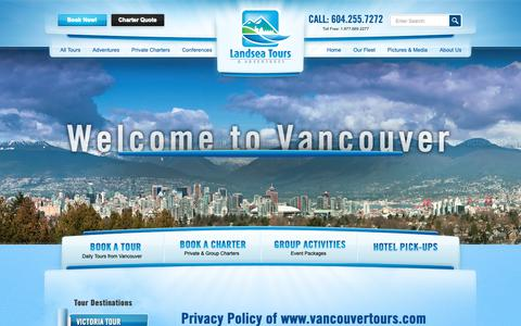 Screenshot of Privacy Page vancouvertours.com - Privacy Policy - Landsea Tours & Adventures Landsea Tours & Adventures - captured Sept. 27, 2018