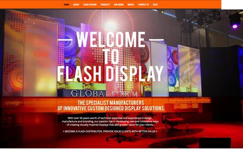 Screenshot of Home Page flashdisplay.co.za - Flash Display Solutions | Backdrops, Banners, Exhibition Stand Design - captured Oct. 6, 2014