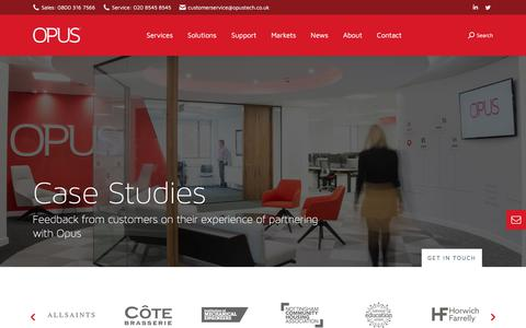 Screenshot of Case Studies Page opustech.co.uk - Case Studies - captured Sept. 13, 2019