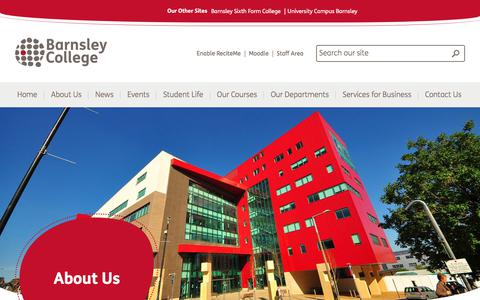 Screenshot of About Page barnsley.ac.uk - About Us - Barnsley College - captured July 13, 2018