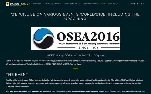 Screenshot of Press Page bardotgroup.com - OSEA Asia 2016 conference exhibition latest subsea equipment & service - BARDOT GROUP - captured Nov. 18, 2016