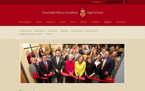 Screenshot of Support Page gmahs.org - Support - Gwynedd Mercy Academy High School - captured Nov. 17, 2016