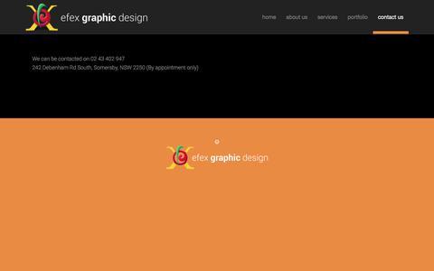 Screenshot of Contact Page efex.com.au - Contact Efex Graphic Design | High Quality Website Design - captured Jan. 12, 2017