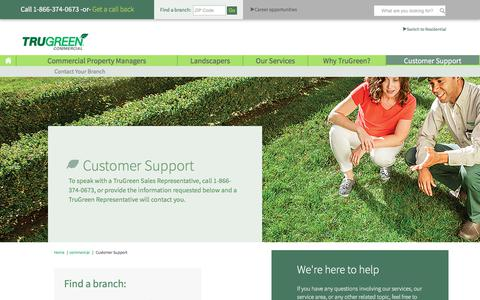 Screenshot of Support Page trugreen.com - TruGreen Customer Support | TruGreen Commercial - captured July 6, 2018