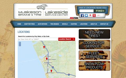 Screenshot of Locations Page muskegonbrake.net - Muskegon, MI Tires Shop Location :: Muskegon Brake and Tire - captured Oct. 7, 2014