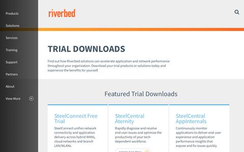 Screenshot of Trial Page riverbed.com - Trial Downloads | Riverbed | US - captured May 2, 2017