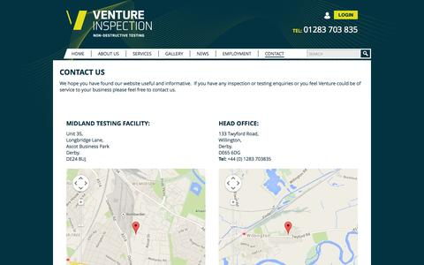 Screenshot of Contact Page ventureinspection.co.uk - Contact Venture Inspection about Non-Destructive Testing - captured Oct. 26, 2014