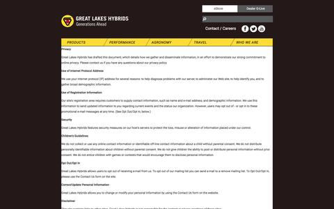 Screenshot of Privacy Page greatlakeshybrids.com - Privacy - captured May 23, 2017