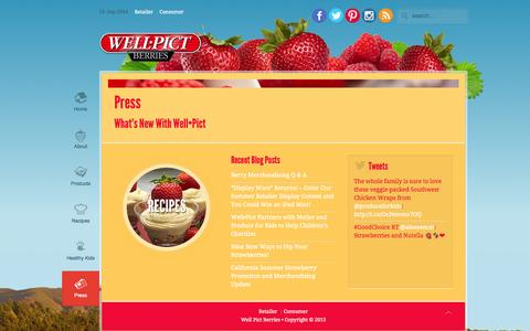 Screenshot of Press Page wellpict.com - Press | WellPict Berries - captured Sept. 19, 2014