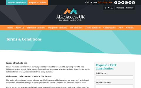 Screenshot of Terms Page ableaccessuk.com - Terms & Conditions - Able Access UK - captured July 28, 2018