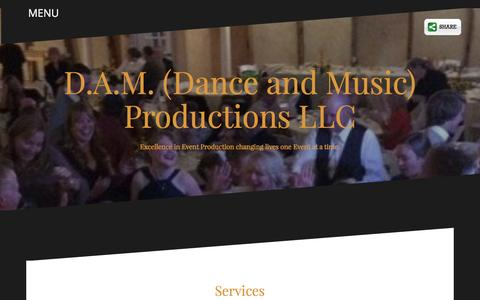 Screenshot of Services Page damproductions.us - Services - D.A.M. (Dance and Music) Productions LLC - captured Nov. 23, 2016