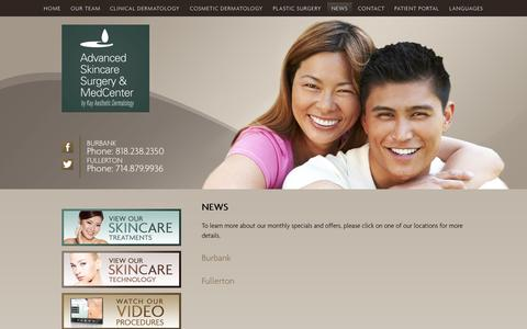 Screenshot of Press Page ascmedcenter.com - Dermatologist | Plastic Surgeon | Los Angeles | Orange County - captured Oct. 4, 2014