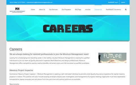 Screenshot of Jobs Page moisturemanagementllc.com - Careers - Moisture Management - captured July 5, 2017