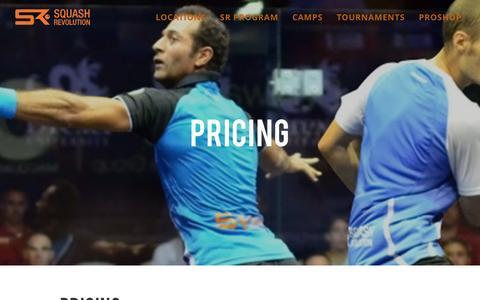 Screenshot of Pricing Page squashrevolution.com - Pricing - Squash Revolution - captured April 7, 2017