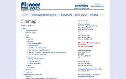 Screenshot of Site Map Page pioneer1.com - Pioneer Motor Bearing Co. | Sitemap - captured Oct. 2, 2014