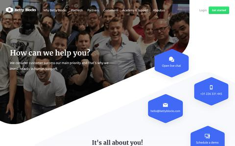 Screenshot of Support Page bettyblocks.com - Human support | Betty Blocks - captured Jan. 14, 2019