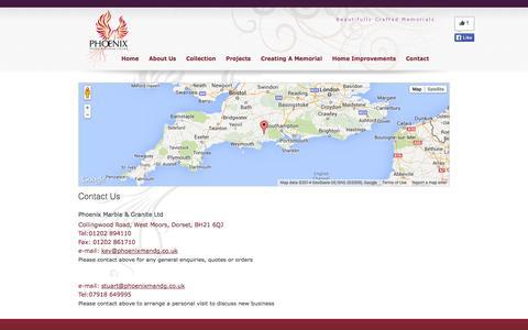 Screenshot of Contact Page phoenixmandg.co.uk - Phoenix Marble & Granite - contact details - captured Oct. 2, 2014