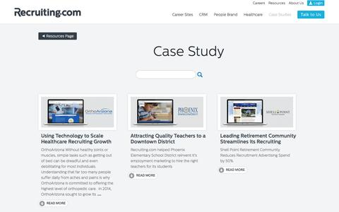 Screenshot of Case Studies Page recruiting.com - Case Study Articles - Recruiting.com - captured Feb. 9, 2016