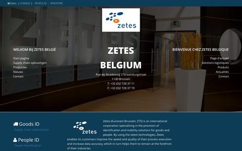 Screenshot of Home Page zetes.be - Belgium split | Zetes - captured Sept. 11, 2015