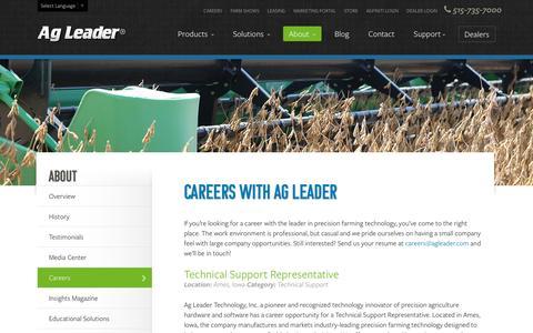 Screenshot of Jobs Page agleader.com - Careers | Ag Leader Technology - captured Sept. 2, 2016