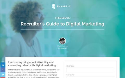 Screenshot of Landing Page smashfly.com - The Recruiter's Guide to Digital Marketing eBook - captured Feb. 8, 2019