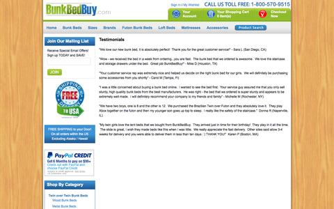 Screenshot of Testimonials Page bunkbedbuy.com - BunkBedBuy.com Testimonials & Customer Feedback - captured Oct. 5, 2014