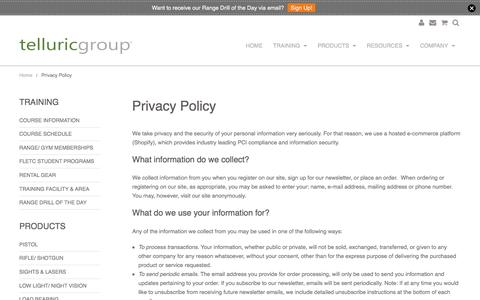 Screenshot of Privacy Page telluricgroup.com - Privacy Policy | Telluric Group, LLC - captured Dec. 22, 2016
