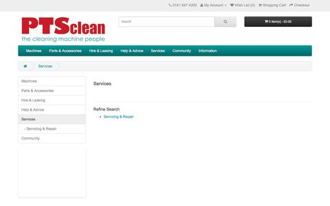 Screenshot of Services Page ptsclean.com - Full Range of Services provided by PTS Clean Ltd - captured July 10, 2016
