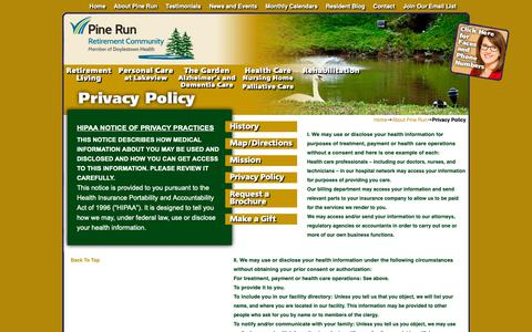 Screenshot of Privacy Page pinerun.org - Privacy Policy - captured Sept. 28, 2018