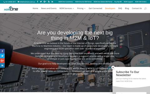 Screenshot of Developers Page m2mone.com.au - Solutions for M2M and IoT Developers | M2M One Australia - captured July 26, 2018