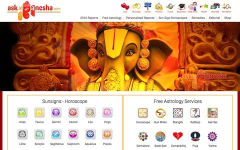 Screenshot of Home Page askganesha.com - Free Horoscopes, Online Astrology with Astrologers | askganesha - captured Oct. 1, 2015