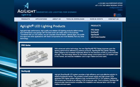 Screenshot of Products Page agilight.com - Products   Agilight - captured Oct. 4, 2014