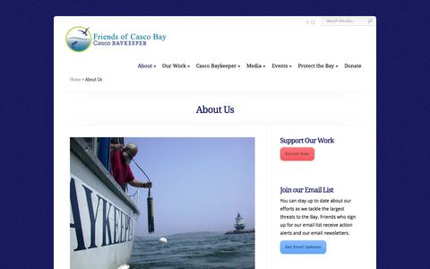Screenshot of About Page cascobay.org - About Us | Friends of Casco Bay - captured Oct. 6, 2014