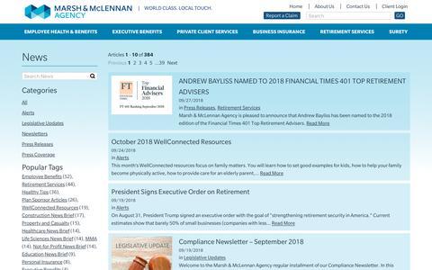 Screenshot of Press Page mma-ne.com - News & Announcements - Marsh & McLennan Agency - captured Sept. 29, 2018