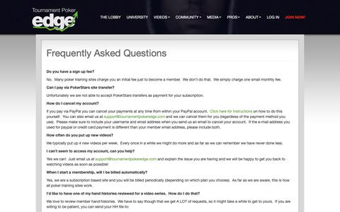 Screenshot of FAQ Page tournamentpokeredge.com - Frequently Asked Questions | Tournament Poker Edge | Learn Poker Strategy | Tournament Poker Training from the Pros - Professional MTT training from the top live and online pros - captured June 16, 2019