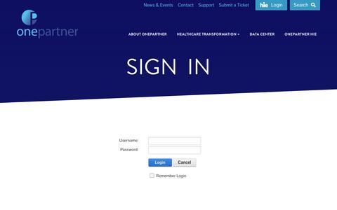 Screenshot of Login Page onepartner.com - OnePartner Login - captured Dec. 19, 2016