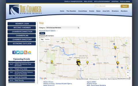 Screenshot of Maps & Directions Page bismarckmandan.com - Map - Bismarck-Mandan Chamber of Commerce - captured Feb. 7, 2016