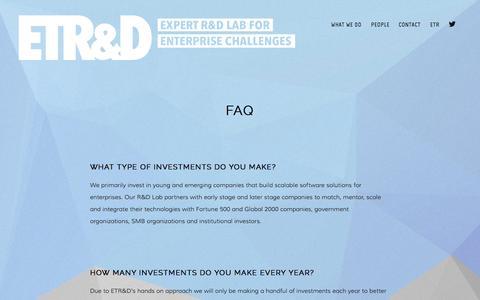 Screenshot of FAQ Page etrd.com - FAQ — ETR&D - captured Sept. 27, 2014