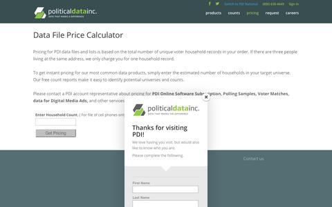 Screenshot of Pricing Page politicaldata.com - Price Calculator 2   Political Data, Inc. - captured Sept. 28, 2018