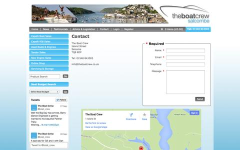 Screenshot of Contact Page theboatcrew.co.uk - The Boat Crew Salcombe - Contact Us - captured Oct. 6, 2014