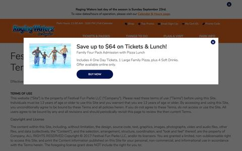Screenshot of Terms Page ragingwaters.com - Terms of Use | Raging Waters Los Angeles - captured Sept. 23, 2018
