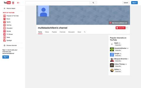 Screenshot of YouTube Page youtube.com - multistackchillers's channel  - YouTube - captured Nov. 5, 2014