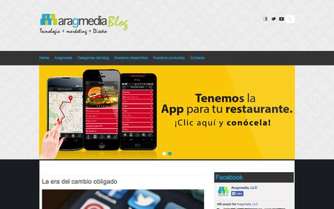 Screenshot of Blog aragmedia.com - Aragmedia / Blog - Tecnologia + Marketing + Diseño - captured Oct. 4, 2014